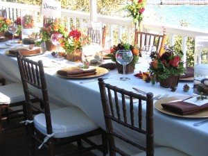 Lake Tahoe lakefront wedding tables